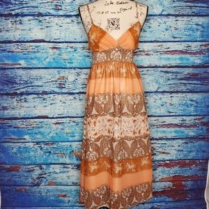 She's Cool Orange/Peach Paisley Dress Size Small